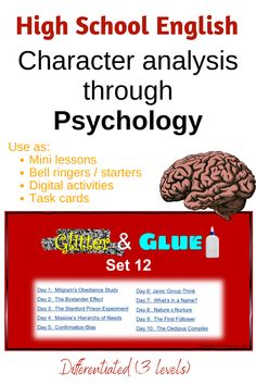 Students learn about psychological theories and are then encouraged to apply these to texts they are studying.  These ten mini lessons can also be used as lesson starters.  A PowerPoint presentation providing notes, differentiated activities and answers, is also available as digital activities for homework or classwork.  It can also be printed out as task cards. Exam Study Tips, School Study Tips, School Resources, Teaching Resources, Teaching Ideas, Stanford Prison Experiment, Psychological Theories, Social Emotional Development, High School English