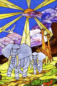 """""""Noah's Ark - Landfall"""" stained glass windows detail - Maid on the Moon Studio"""