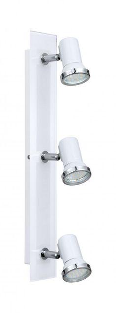 Tamara er en flott taklampe med spotter som er godkjent til baderom (IP44). Spottene kan vinkles etter ønske. Det medfølger LED pærer, slik at her trenger man ikke tenke på annet en montering! Tamara serien finnes i flere utførelser. IP44, dobbeltisolert Lengde: 46 cm Bredde: 7 cm Bygger ned fra taket: 15 cm Lyskilde: 3 stk. GU10 maks 3,3W (medfølger) Lumen på lyskilder: 3 x 240lm Fargetemperatur på lys: 3000 Kelvin (varmhvit) Volt: 230V Materiale: stål, glass Farge: krom, hvit Vekt: 1.511…