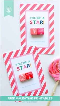 Free Valentine's Day card printable - You're a Star!  Just add Starburst candy to create a cute valentine for kids!