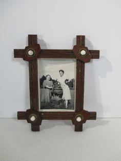 Frame Tramp Art Black Forest Carved Wood White Glass Buttons Vintage Adirondack