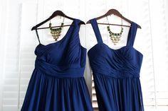 Donna Morgan navy bridesmaid dresses with different necklines