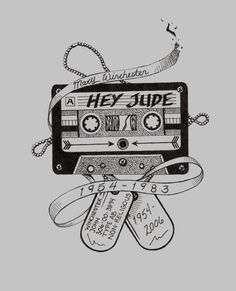 Hey Jude-John and Mary Winchester Dean Tattoo, S Tattoo, Supernatural Drawings, Supernatural Fandom, Supernatural Tattoo, Geeks, Mary Winchester, Les Beatles, Hey Jude