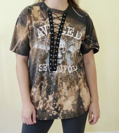 5cdf82dc Avenged Sevenfold Lace up shirt. Hand bleached shirt. Distressed tee.  Bleached shirt dress