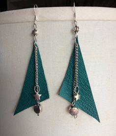 Handmade Turqoiuse Leather Silver Chain Star Earrings
