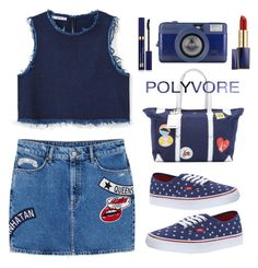 """""""Dark blue"""" by chengyijia ❤ liked on Polyvore featuring MANGO, Vans, Kate Spade and Estée Lauder"""