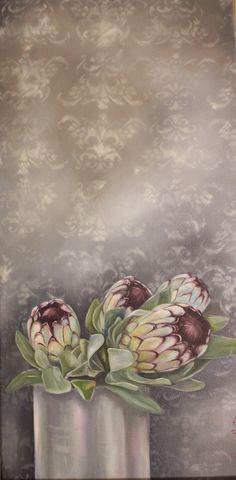 Protea Art, Protea Flower, Flower Vases, Art Flowers, Abstract Flower Art, Flower Artists, White Art, Botanical Art, Flower Decorations