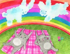 Double Rainbow Bunny Clouds
