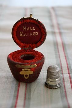 silver thimble and red velvet case...love...