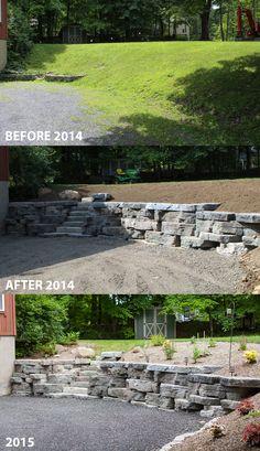 New outdoor patio wall ideas stones ideas Rock Retaining Wall, Landscaping Retaining Walls, Landscaping With Rocks, Outdoor Landscaping, Backyard Patio, Outdoor Gardens, Landscaping Ideas, Landscaping Borders, Patio Ideas