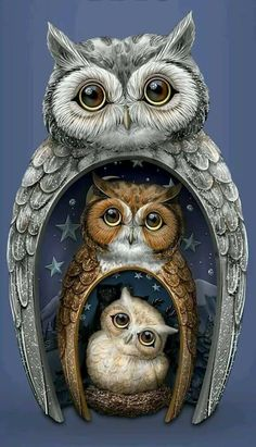 The Hamilton Collection Blake Jensen Owl Family Nesting Trio Figurine Set with Swarovski Crystals Owl Family, Owl Pet, Owl Always Love You, Beautiful Owl, Owl Crafts, Cross Stitch Animals, 5d Diamond Painting, Cross Paintings, Owl Paintings