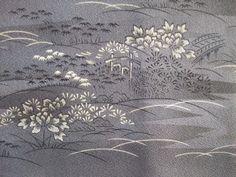 Japanese Vintage Kimono Haori Silk Gray Flower Wave Good Condition M110209 | eBay