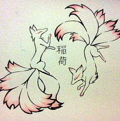 Kitsune Tattoo Design by TamaArisu.deviant… on Kitsune Tattoo Design by TamaArisu.deviant… on Fox Drawing, Drawing Sketches, Cute Animal Drawings, Cute Drawings, Tattoo Design Drawings, Fox Art, Anime Animals, Japanese Art, Body Art Tattoos