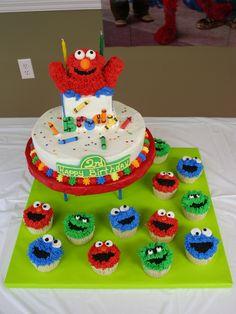 Elmo Cake and Sesame Street Cupcakes