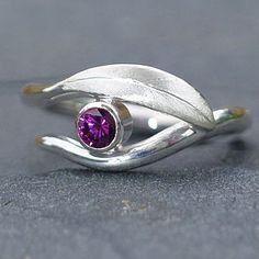 Handmade Rhodolite Garnet Leaf Ring - rings