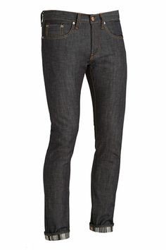 Tyler Striped Raw Selvage by J Brand Jeans: Perfect slim in a raw medium weight Japanese selvage with printed stripe interior body. Jean is shipped cuffed to see the interior. $205