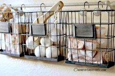 Look what she did with these Dollar Store wire baskets!