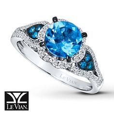 Le Vian Blue Topaz 1/3 ct tw Diamonds 14K Vanilla Gold Ring