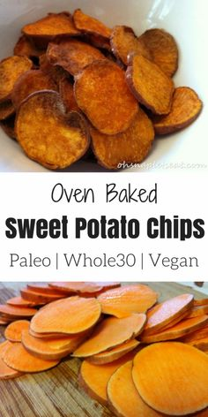 Healthy and Easy Oven Baked Sweet Potato Chips Oh Snap Lets Eat Paleo Banana Bread made with almond flour Vegetarian Recipes, Cooking Recipes, Healthy Recipes, Sweet Potato Recipes Healthy, Are Potatoes Healthy, Easy Sweet Potato Recipe, Food Recipes Snacks, Recipes With Sweet Potatoes, Healthy Quick Meals