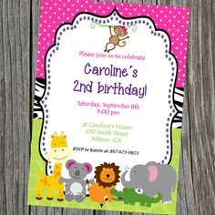 Printable Party Animals Jungle theme Birthday by cohenlane on Etsy, $8.00