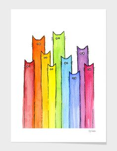 Cartoon Cat Painting - Cat Rainbow Watercolor Pattern by Olga Shvartsur Rainbow Drawing, Rainbow Painting, Rainbow Art, Rainbow Room, Rainbow Colors, Watercolor Pattern, Watercolor Cards, Watercolor Paintings, Watercolour