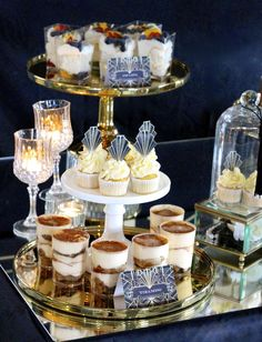 Glam desserts at a Great Gatsby 30th birthday party! See more party ideas at CatchMyParty.com!