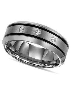 Triton Tungsten Ring, Diamond Wedding Band (1/10 ct. t.w.) - Rings - Jewelry & Watches - Macy's