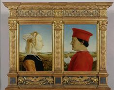 Piero della Francesca (Italy, 1415-1492) ~  Double Portrait of Battista Sforza (1447-1472) and Federico da Montefeltra (1422-1482) ~ Early Renaissance 15th century ~ Piero della Francesca was an Italian painter of the Early Renaissance. As testified by Giorgio Vasari in his Lives of the Most Excellent Painters, Sculptors, and Architects, to contemporaries he was also known as a mathematician and geometer.