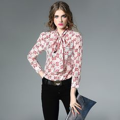 New Spring Autumn 2017 high quality Plus size women blouses luxury real silk Butterfly Bow shirt temperament OL female tops