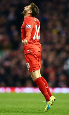 Lallana after scored Liverpool Football Club, England National Team, This Is Anfield, Red Day, English Premier League, Football Pictures, Europa League, Football Players, Fc Bayern Munich