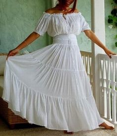 Ivory Peasant Dress