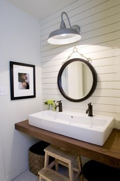 Modern Farmhouse Style, A modern farmhouse style with wood planked walls, trough sink, and simple hex tile floors, Our kids bath.  Double trough style sink saves space, but gives the luxury of two faucets.  Open below, perfect for a step stool., Bathrooms Design