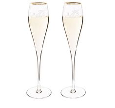 Celebrate your wedding or special event with these Personalized Gold Rim Champagne Flutes.