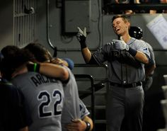 Richie Shaffer (Tampa Bay Rays) celebrates his first career home run