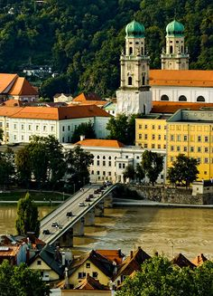 Passau's Cathedral in Germany is a beaut! It's time to get the passport out...don't you think? Look at all of the awesome colors on the buildings and surrounding areas.