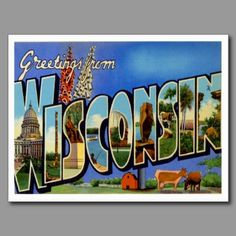 Greetings from WISCONSIN  WI Post Card - Vintage Greetings From the cheese state!  YUM!