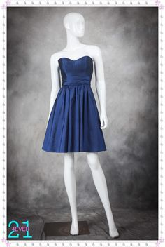 Elegant Sweetheart Ruched Knee Length Corset Bodice Navy Blue Affordable Short Taffeta Bridesmaid Dresses BD-10301 $139.99