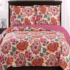 Modern Coverlet Quilt Shams Set Floral Paisley Print Pattern Orange Hot Pink Pink King/Cal King Size Lightweight Reversible Wrinkle Free Hypoallergenic Oversized 3 Piece Teen Girls Bedding