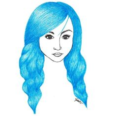 Blue Hair (Self Portrait) Art Print ❤ liked on Polyvore featuring accessories, hair accessories, blue and hair