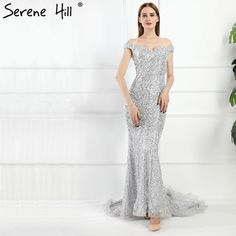 [Only $411.75] Gorgeous Gray Off Shoulder Mermaid Evening Dresses 2017 Beaded Sequins Low Back Party Gowns Dubai Robe De Soiree Serene Hill