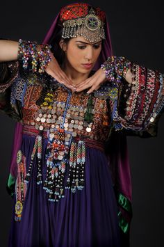 Rana Gorgani in traditional Pashtun clothes, worn at her Afghan dance performances.