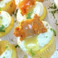 Cornbread cupcakes with mashed potato frosting, fried chicken, and gravy