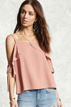 Forever 21 Contemporary - A woven top featuring an open-shoulder design, short sleeves with a self-tie closure and a tulip-inspired flounce layer framing the neckline.