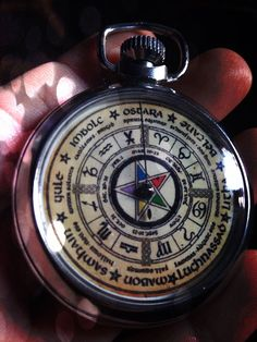 VINTAGE OUIJA POCKET WATCH! Ouija Board Pentagram Pocket Watch: Ask your question, spin the winder and the hand spins around the dial until stopping on yes or no or a number Made in England in the 1960's