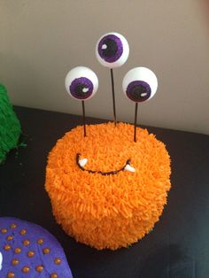 Monster cake- use marshmellows on sticks for eyes.