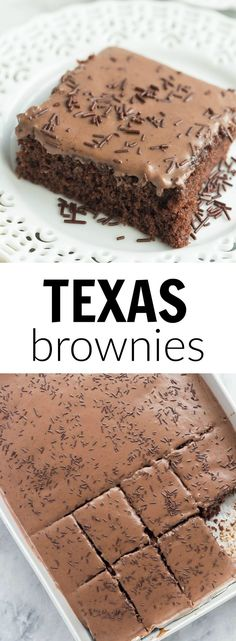 These Frosted Texas Brownies are made with a whisk and a bowl — no mixer required! They make a huge sheet pan and are perfect for potlucks!