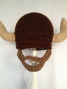 Viking Beard Hat Brown crochet bearded by foryouandmedesigns, $30.00