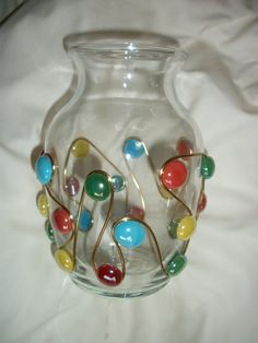 Glass Beaded Vase Multi Color by ElegancePlus on Etsy, $14.99