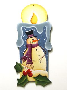 Snowman on Candle Shaped Ornament Handpainted by ToleTreasures, $6.50