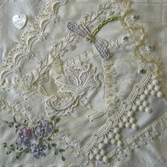 """I ❤ crazy quilting & ribbon embroidery . . . DYB block for Ritva CQ block, 8"""". 20 cm. ~By Ati, Norway"""